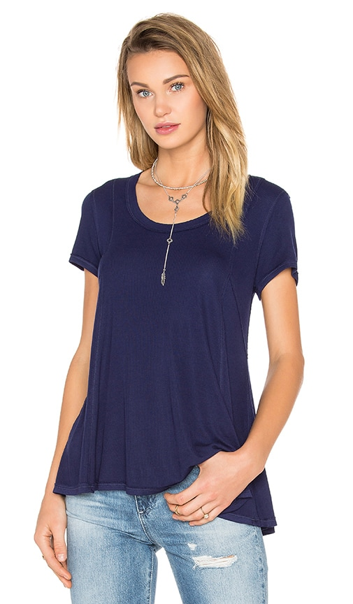 Heather Paneled Swing Top in Navy