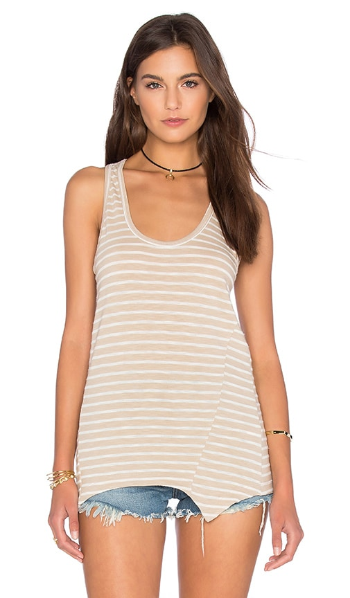 Heather Stripe Racerback Tank in Beige