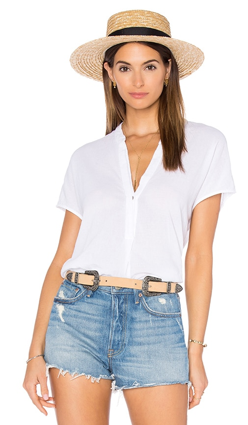 Heather Gauze Split Neck Top in White