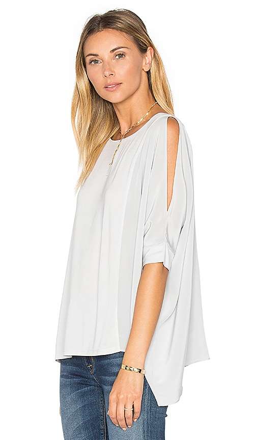 Heather Asymmetric Silk Boxy Top in Gray