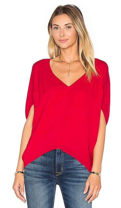Heather Silk Bubble Top in Red
