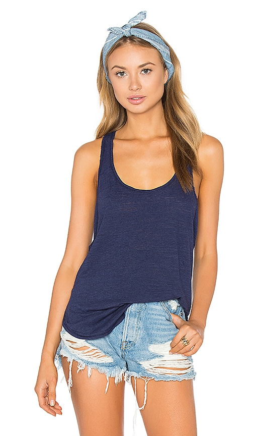 Heather Cotton & Gauze Panel Tank in Blue