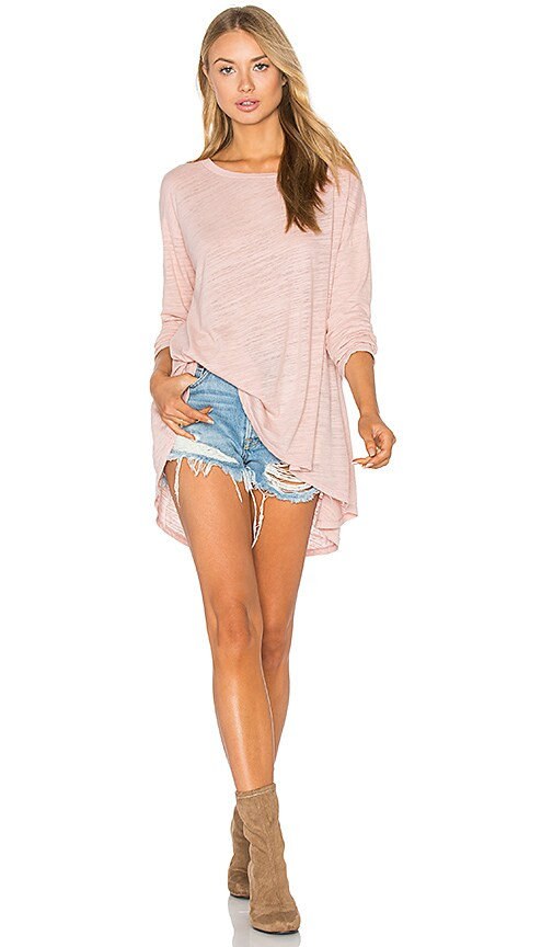 Heather Cotton & Gauze Swing Top in Blush