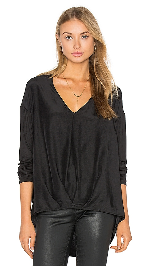 Heather Silk Tuck Front Top in Black