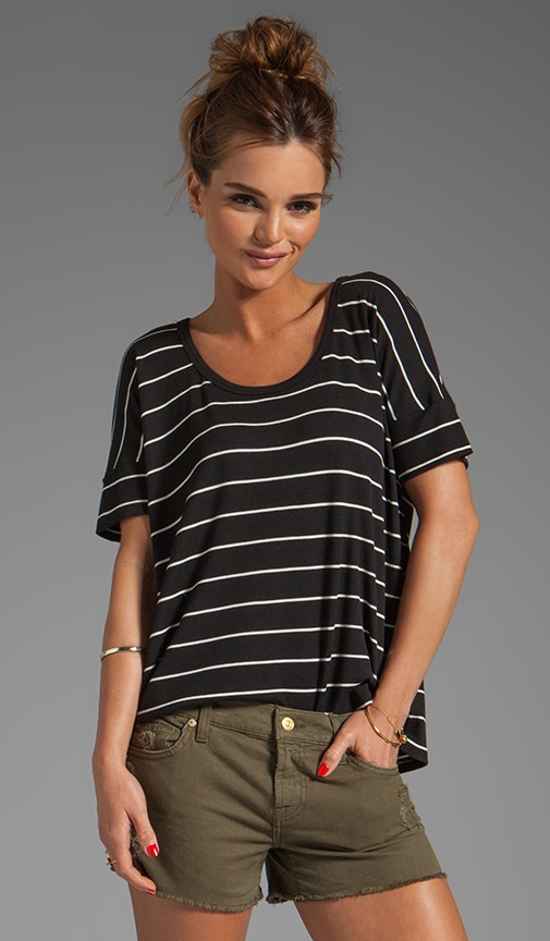 Rib Stripe Cross Back Tee