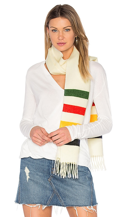 Hudson's Bay Company Scottish Wool Scarf in White