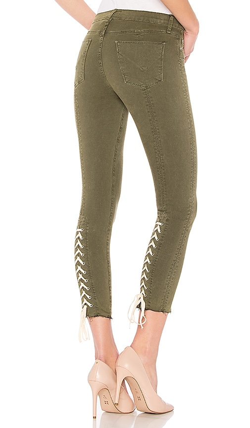 Hudson Jeans Nico Mid Crop Super Skinny Jean in Crushed Olive