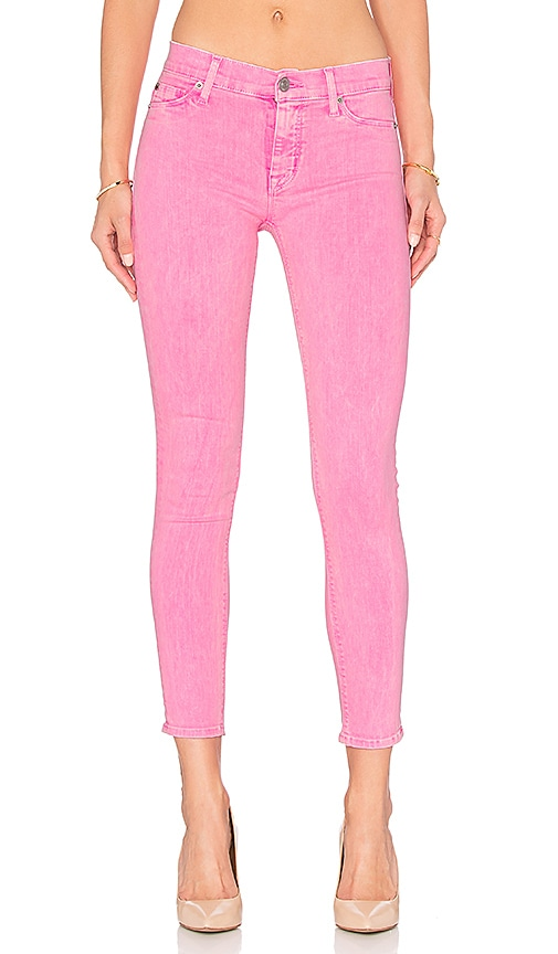 Hudson Jeans Nico Mid Rise Ankle Skinny in Luminous Pink