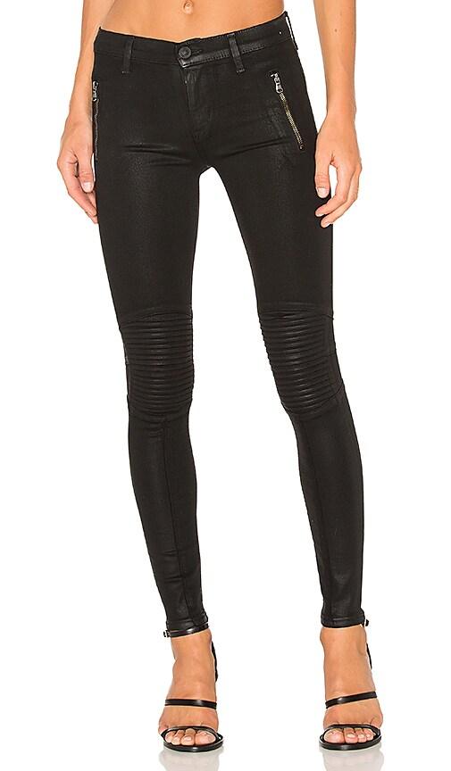 Hudson Jeans Stark Moto Pant in Noir Coated