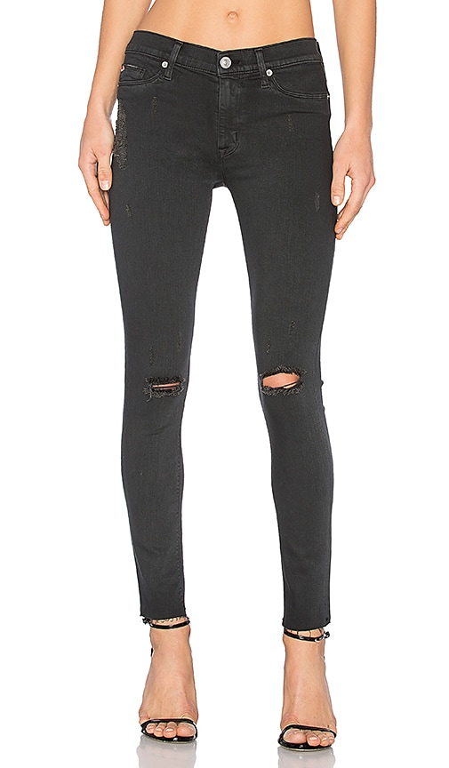 Hudson Jeans Nico Mid Rise Skinny in Blackened Charcoal Destructed