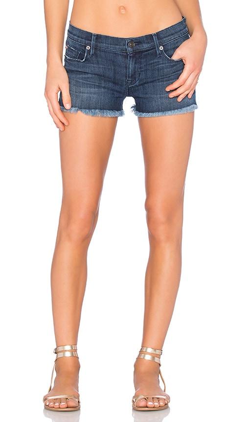 Hudson Jeans Amber Unfinished Hem Short in Blue Crest