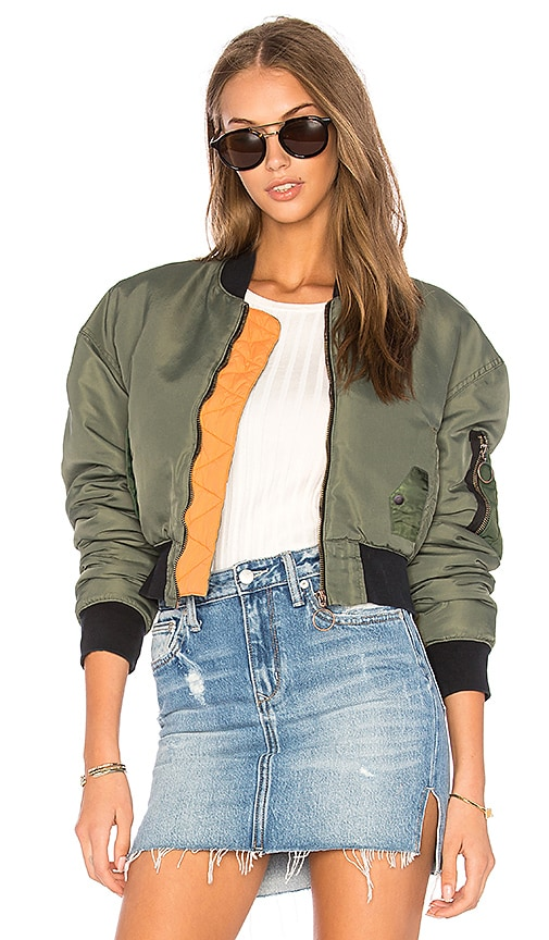 Hudson Jeans Rogue Cropped Bomber in Olive free shipping