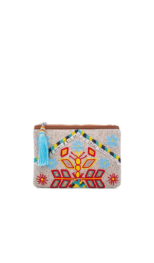 HueBreeze Leather Mirrored Large Clutch in Multi