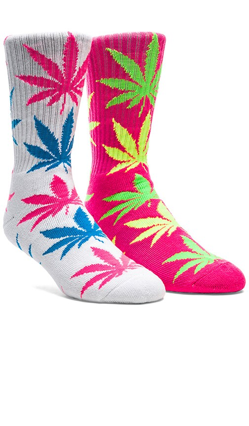 Neon Plantlife Crew Socks in Pink, Huf Neon Plantlife Crew Socks