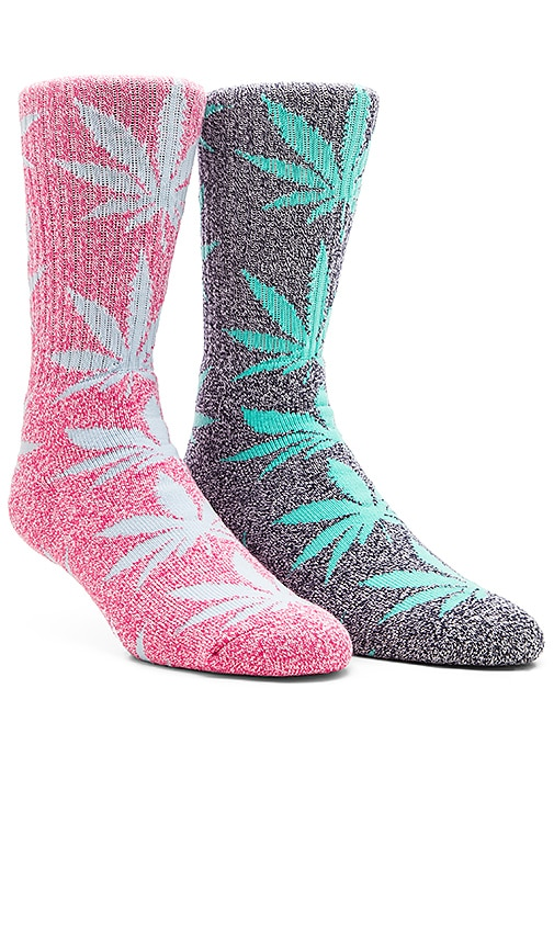 Plantlife Crew Socks in Navy Heather Mint, Huf Plantlife Crew Socks