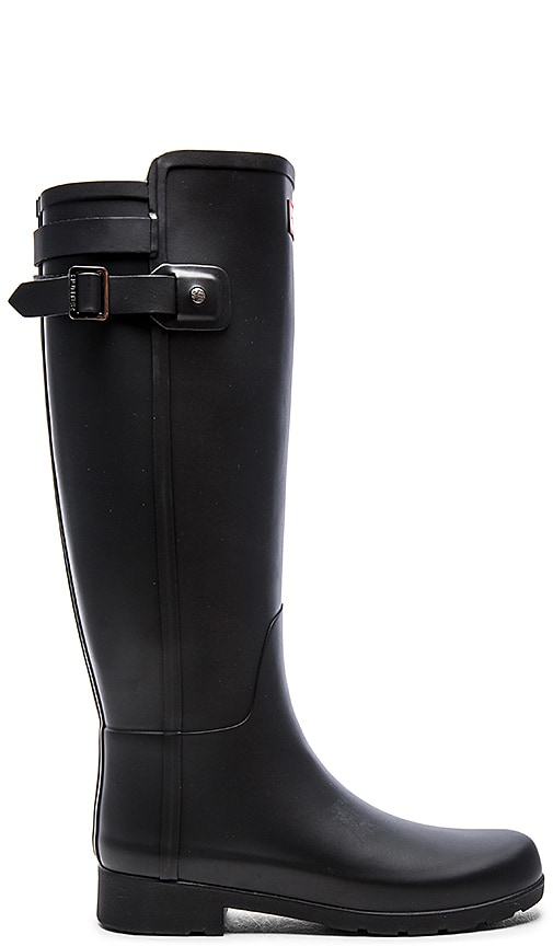 Hunter Original Refined Back Strap Rain Boot in Black