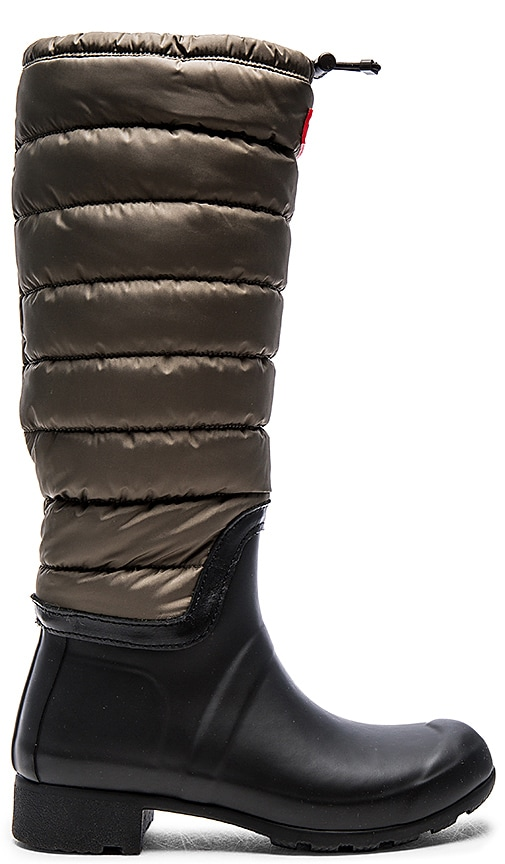 Hunter Original Quilted Leg Boot in Swamp Green & Black