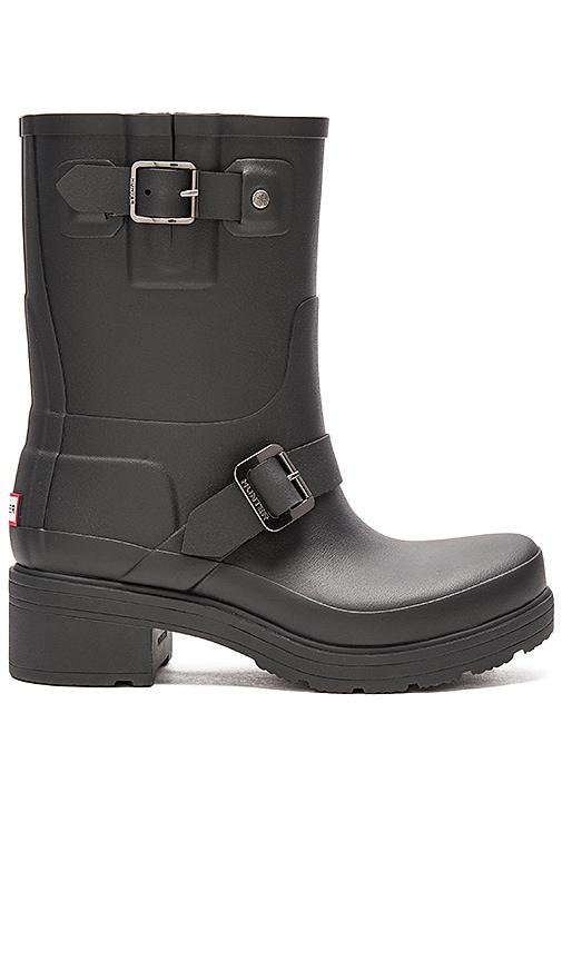 6589606427 Hunter Original Rubber Biker Rain Boot in Black