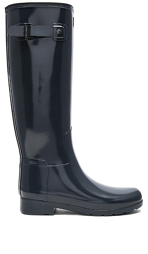 Hunter Original Refined Gloss Boot in Charcoal