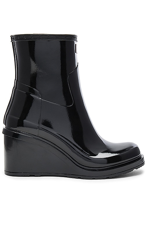 Hunter Original Refined Mid Wedge Boot in Black