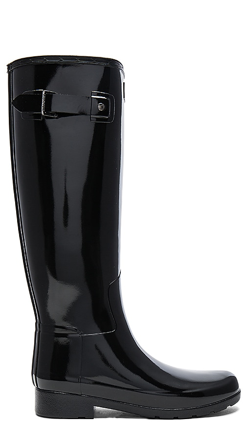 Hunter Original Refined Gloss Boot in Black