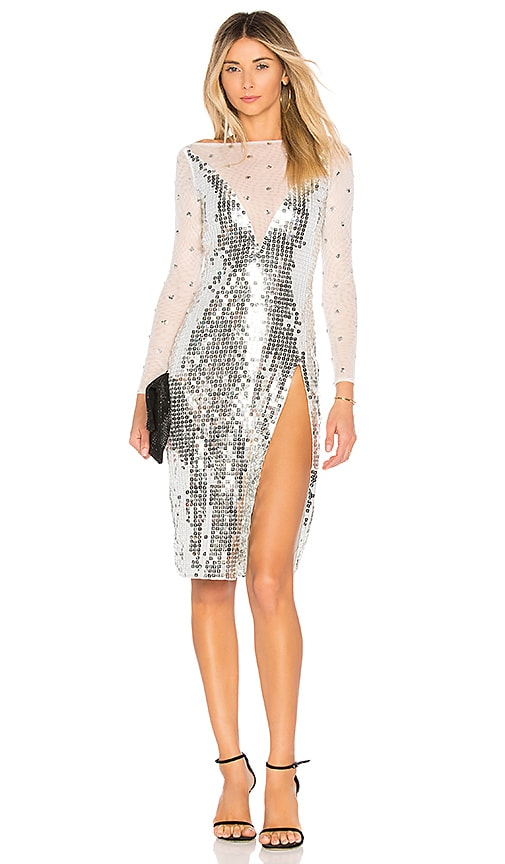 h:ours Skye Dress in Metallic Silver