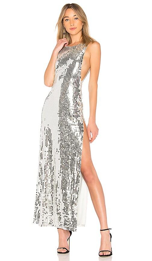 h:ours Estrella Dress in Metallic Silver