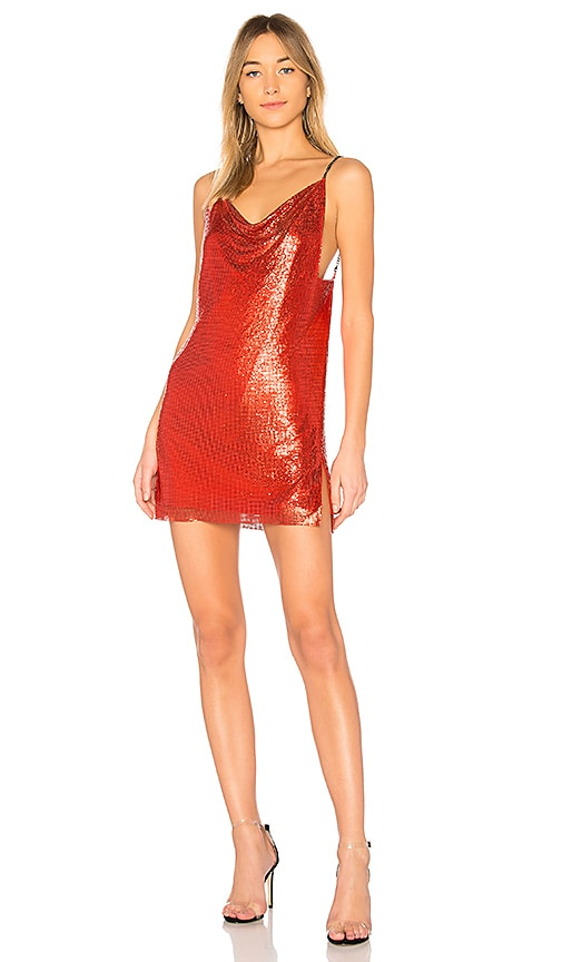 h:ours Willa Chainmail Dress in Red