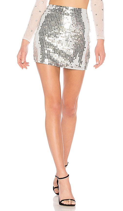 h:ours Jude Skirt in Metallic Silver