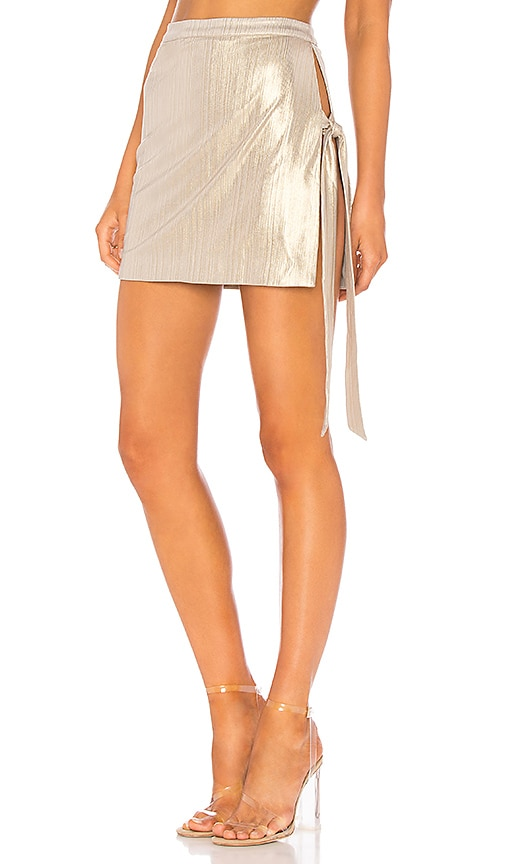 h:ours Haris Mini Skirt in Metallic Gold