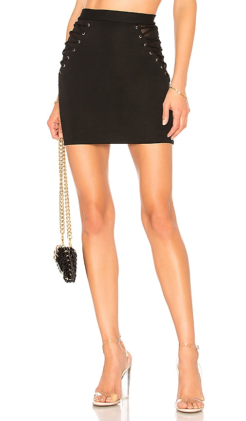 h:ours Lian Mini Skirt in Black