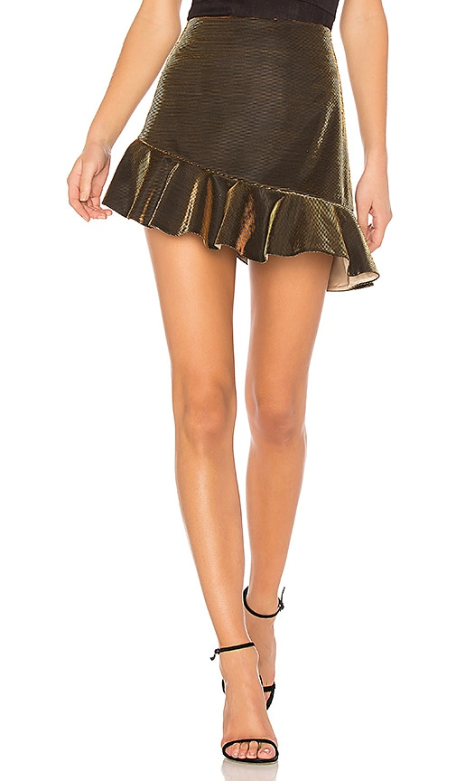 h:ours x REVOLVE Rubie Ruffle Mini Skirt in Gold