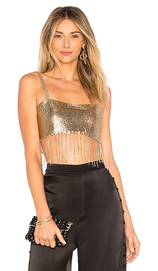 h:ours Lucienne Top in Metallic Gold