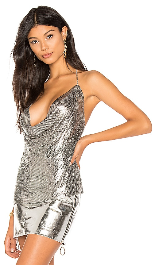 h:ours Ellie Chain Top in Metallic Silver