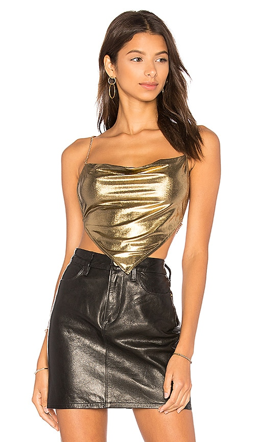 h:ours Hunter Top in Metallic Gold
