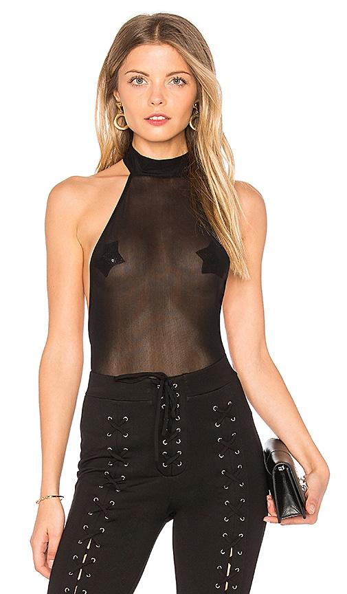 h:ours Mesh Bodysuit in Black