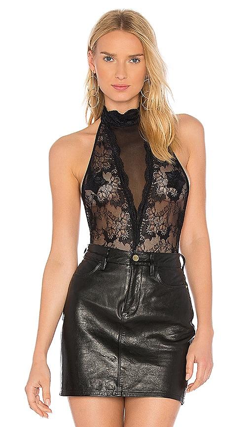 h:ours High Neck Lace Bodysuit in Black