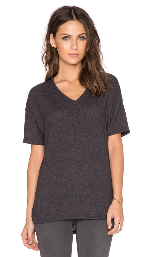 Hye Park and Lune Alexa V Neck Tee in Charcoal Black