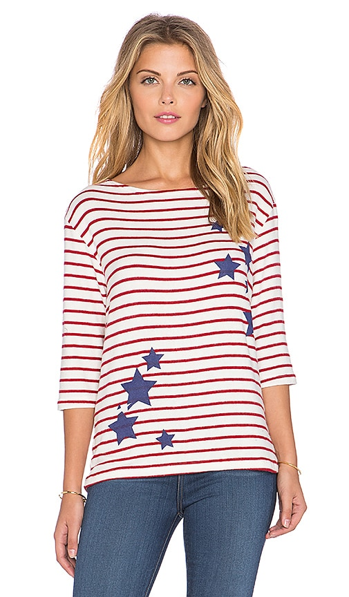 Hye Park and Lune Esther 3/4 Sleeve Tee in Red Stripe