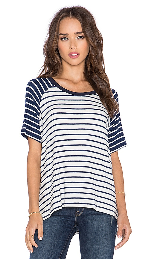 Hye Park and Lune Phyllis Short Sleeve Tee in Navy Stripe