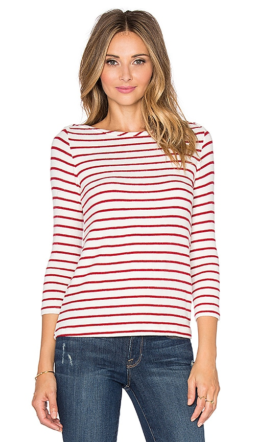 Hye Park and Lune Whitney 3/4 Sleeve Tee in Red Stripe