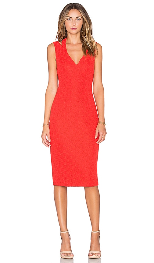 ISLA_CO Spoke Midi Dress in Red