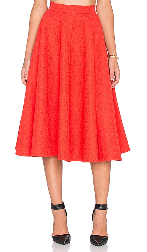 ISLA_CO Spoke Flare Skirt in Red