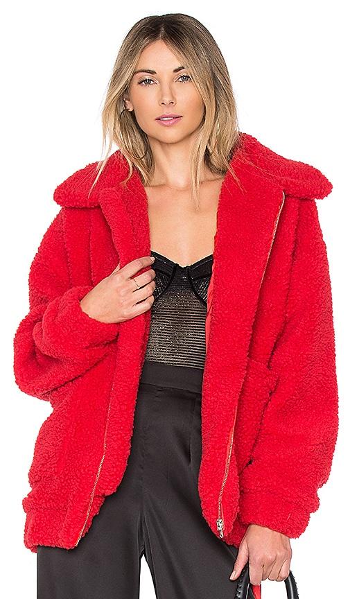 I.AM.GIA Pixie Pile Fleece Coat in Red | REVOLVE