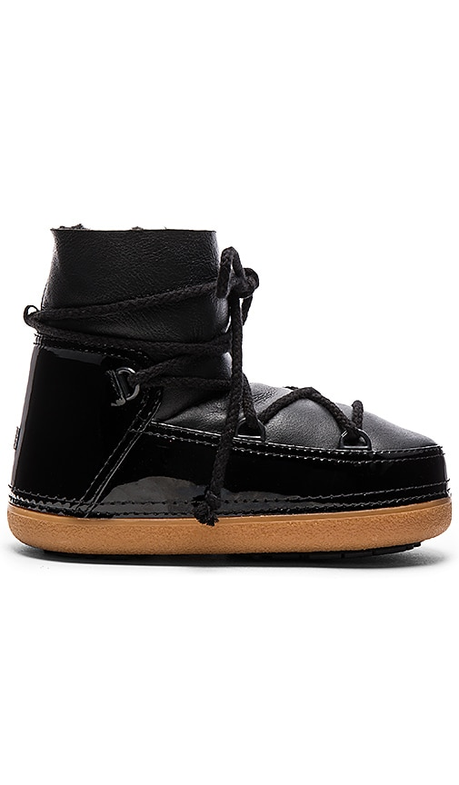 IKKII Gloss Boot with Lamb Shearling in Black