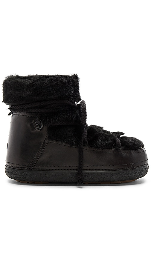 INUIKII Rabbit Fur Boot with Lambskin in Black