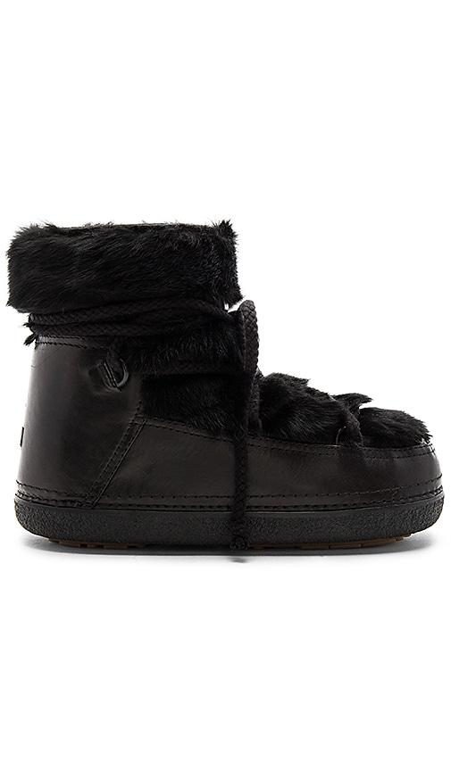INUIKII Rabbit Fur Boot with Lambskin in Black