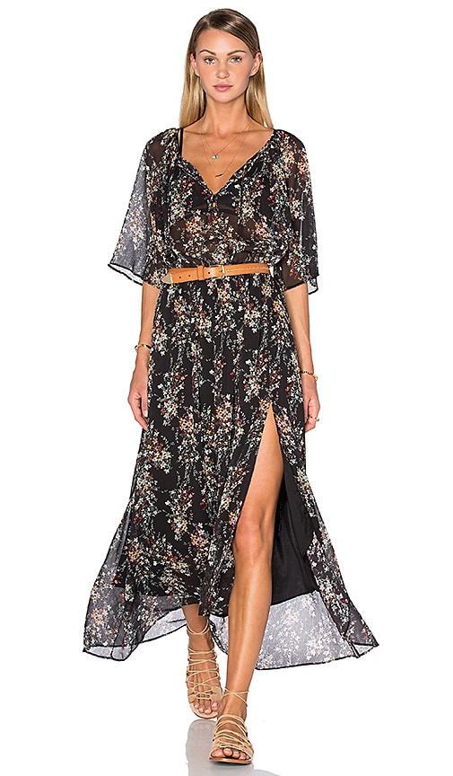 IKKS Paris Short Sleeve Floral Maxi Dress in Black