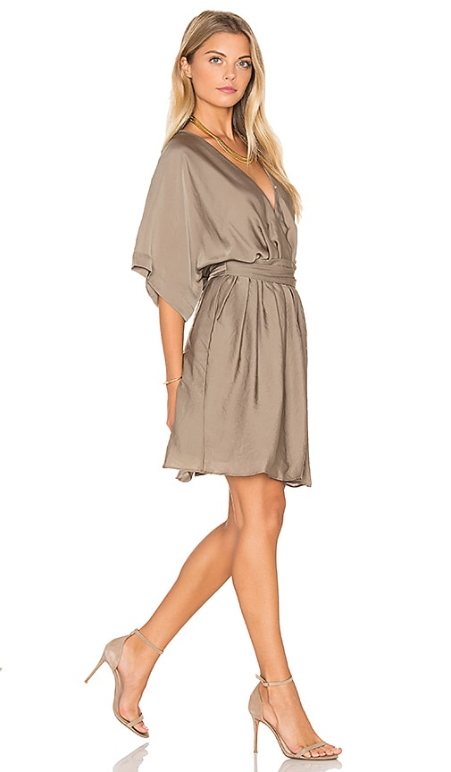 IKKS Paris Short Sleeve Tied Waist Mini Dress in Olive