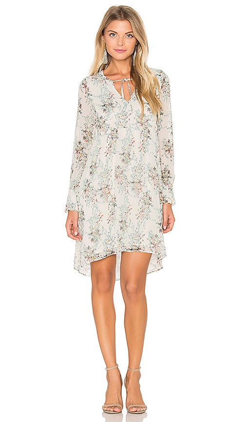 IKKS Paris Long Sleeve Floral Shift Dress in Ecume
